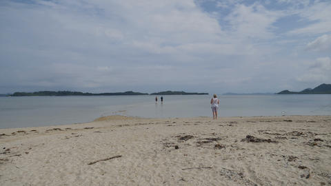Tourists arriving on starfish island on small beach by boat Live Action