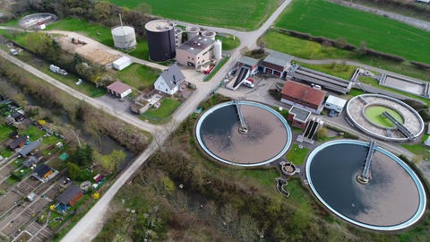 Sewage treatment plant - waste water purification, aerial view Footage
