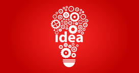 Cogs And Gears Spinning In Lightbulb Teamwork Idea On Red GIF