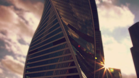 Sunset sun reflected in a skyscraper Footage