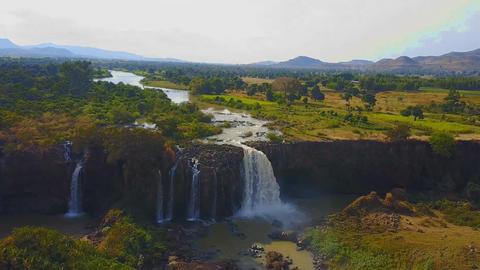 Blue Nile waterfalls, Bahar Dar, Ethiopia, Africa (aerial photography) Footage