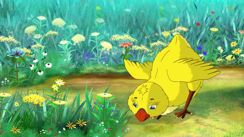 Yellow Chicken Stands and Pecks Animation