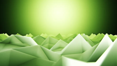 3D Green Low Poly Mountains Lateral Scroll Loopable Background CG動画