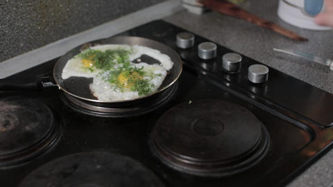 eggs, scrambled, frying pan, breakfast, healthy food,Breakfast just cooked with Footage
