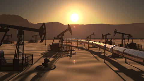 Epic view of oil field with pumpjacks and pipeline Animación