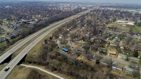 Aerial view of interstate in Topeka Kansas Footage