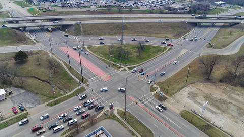 Aerial Time Lapse of busy intersection in Topeka Kansas Footage