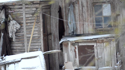 Old ruined abandoned wooden house Footage