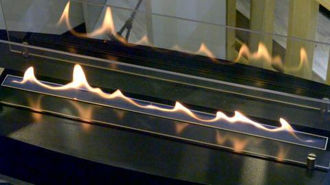 Modern bio fireplot fireplace on ethanol gas. Smart ecological alternative Footage