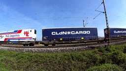 Cargo train passing by Footage