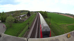 Regional train passing by, real time Footage