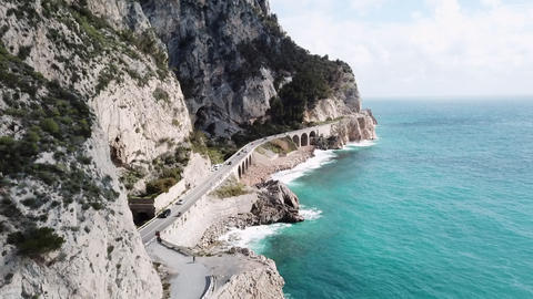 Italian Road And Sea Near Varigotti Liguria Northern Italy Footage