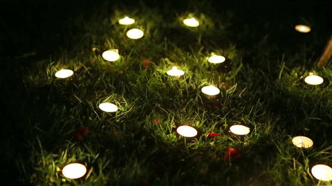many small candles in the night, in the green grass 영상물