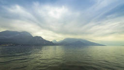 Cloudy landscape of Como Lake. Bellagio town, Italy Footage