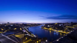 Evening view of Duoro river and City of Porto, Portugal Footage