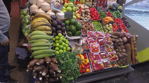 Market Stall Full Of Fruits and Vegetables Stock Video Footage