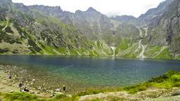 Picturesque view of Czarny Staw pod Rysami in Tatra mountains, Poland Footage