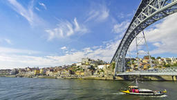View of Dom Luis Bridge over Douro river in City of Porto, Portugal Footage