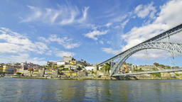 View of Dom Luis Bridge over Douro river in City of Porto, Portugal Footage