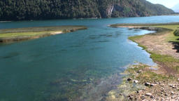 Calm quiet mountain river show in Patagonia Argentina Footage