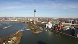 Aerial view of the Dusseldorf Media harbour in Germany - Europe Footage