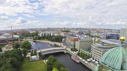 Aerial view of Spree River in Berlin city, Germany Footage