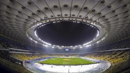 Panoramic view of Olympic stadium in Kyiv, Ukraine (Time Lapse) Footage