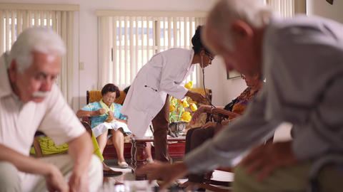 8-Hospice Doctor Measuring Blood Pressure To Senior Woman stock footage