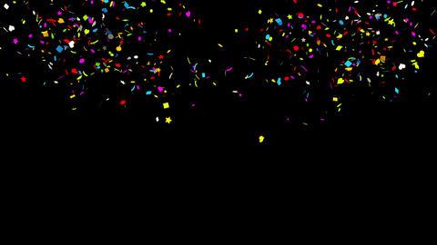 Middle Left Right Multi-shape Realistic colored Confetti Popper Explosions Animation