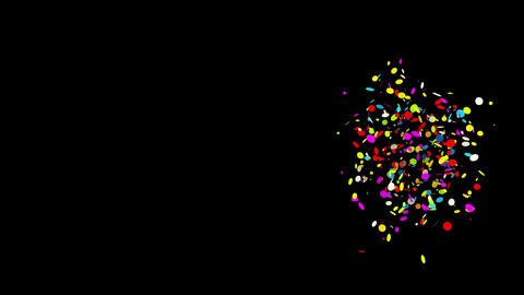 Gunshot Individual Middle Right Round circle Realistic colored Confetti Popper Animation