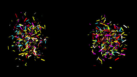 Gunshot Individual Middle Right Left Line rectangle Realistic colored Confetti Animation