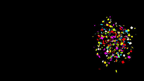 65 Gunshot Individual Middle Right Rectangle Realistic colored Confetti Popper Animation