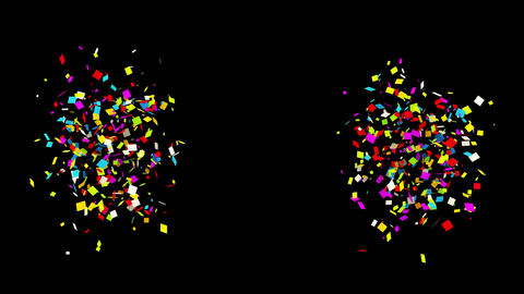 66 Gunshot Individual Middle Right Left Rectangle Realistic colored Confetti Animation