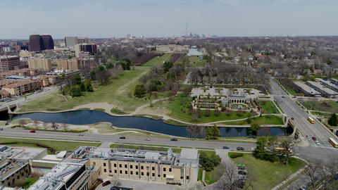 Aerial rising shot of Kansas City Skyline from the south Footage