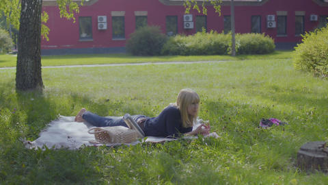 Woman relax on blanket in park and eat apple Archivo