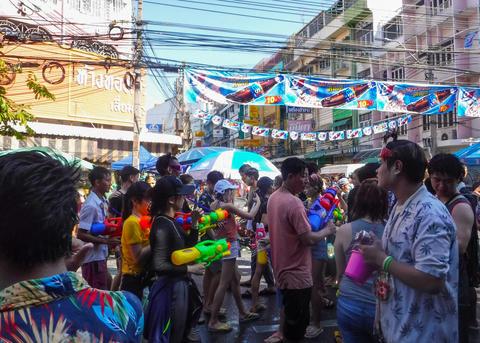 Songkran Festival at Khao San Bangkok, Thailand Fotografía