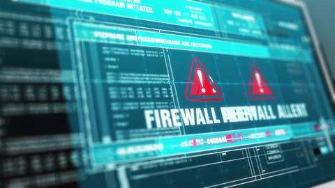 Firewall Alert Hacked Warning System Security Alert error on Computer Screen Animation