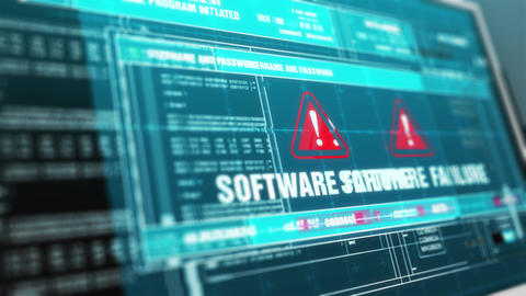 Software failure Hacked Warning System Security Alert error on Computer Screen Animation