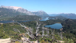 Mountain lake show quiet and calm water in Patagonia Argentina Footage