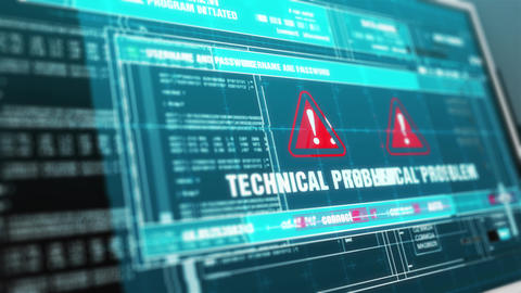 Technical Problem Hacked Warning System Security Alert error on Computer Screen Animation