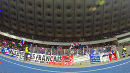 Football supporters show their support at the stadium Footage