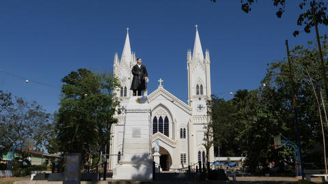 Statue of Jose Rizal at Immaculate Conception Cathedral, Puerto Princesa Footage