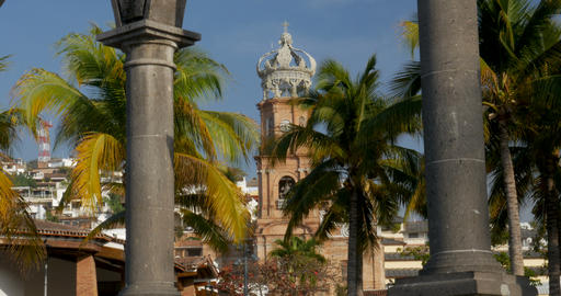 The arches at plaza de armas on the malecon and the Church of our lady Guadalupe Footage