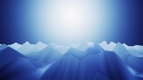 3D Blue Low Poly Mountains Loopable Background Forward Motion CG動画