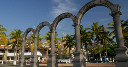 PUERTO VALLARTA, MEXICO - CIRCA MARCH 2018 - Tourists walking by the arches at Footage