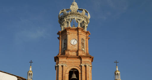 Clock tower and crown of the Church of our lady Guadalupe, Puerto Vallarta, Footage