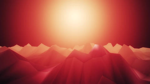 3D Red Low Poly Mountains Loopable Background Forward Motion CG動画