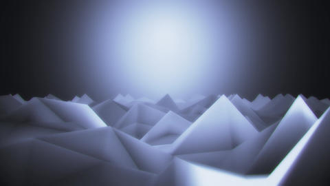 3D Low Poly Mountains at Night Lateral Scroll Loopable Background CG動画