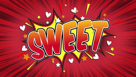 sweet Word Retro Cartoon Comic Bubbles Seamless loop ( green Screen ) Animation