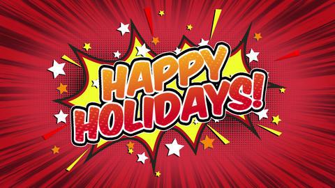 Happy Holidays Word Retro Cartoon Comic Bubbles Seamless loop ( green Screen ) Animation